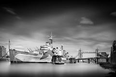 HMS Belfast (esslingerphoto.com✈ (Off to Corfu and Sicily)) Tags: mannequins hms hmsbelfast warship blackandwhite longexposure london towerbridge tourist tourism battleship ship