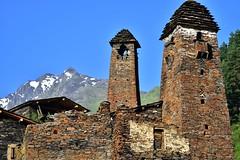 Old towers of Dartlo (orientalizing) Tags: architecture caucases dartlo georgia highcaucuses pirikitaalazanigorge slate towerhouses tusheti village