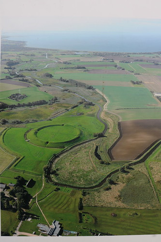 Aerial view showing proximity to sea and river of Trelleborg Ring Fort.