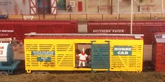 railway clown (Leonard J Matthews) Tags: railway railroad train boxcar circus fool clown mythoto model trainshow 2017 brisbane queensland australia horsecar opendoor danger foolhardy world championship leaping horses