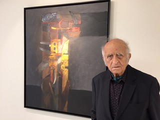 Peruvian master Szyszlo at the opening of his new work on view at Durban Segnini Gallery