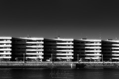 Piscitec II (Mimadeo) Tags: city architecture house urban residential trees building home residence many street modern housing community contemporary exterior realestate row new living development neighborhood avenue neighbourhood apartments sky flats flat getxo black white blackandwhite river nervion