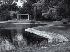 Contemporary Japanese tea house (Tim Ravenscroft) Tags: building tea japanese house landscape garden ringling sarasota florida monochrome blackwhite hasselblad x1d