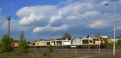 Waiting for the final journey, one of the scrap lines at Toton. 60070 & 60073 plus on the next line is 64, then behind 73 is 34 and 43. Thanks Craig for the IDs 22 04 2017 (pnb511) Tags: toton diesel depot tmd ews class60 db cargo scrap line abandoned trackbed overgrown empty disused loadhaul