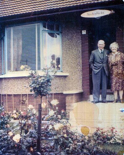 The Morgans outside family home 1970s