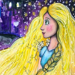 Rapunzel. #everafter2017 #willowingarts #willowing #mixedmedia #fairytaleart