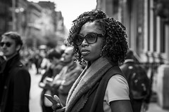 In The Shade (Leanne Boulton) Tags: people monochrome portrait urban street candid portraiture closeup streetphotography candidstreetphotography streetportrait candidstreetportrait streetlife woman female beauty beautiful face facial expression look emotion feeling sunglasses pretty hair curls ringlets style stylish reflection tone texture detail depthoffield bokeh naturallight outdoor light shade shadow city scene human life living humanity society culture canon canon5d 5dmarkiii 70mm character ef2470mmf28liiusm black white blackwhite bw mono blackandwhite glasgow scotland uk