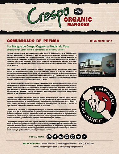 "Espanol -May 10th, Crespo Organic Mangoes Move Home - Press Release • <a style=""font-size:0.8em;"" href=""http://www.flickr.com/photos/139081453@N03/34552351906/"" target=""_blank"">View on Flickr</a>"