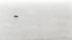 Lonely Sail II BW (rodriguesfhs) Tags: boat sail bw aberystwyth wales cymru welsh ceredigion cardigan bay sea ocean