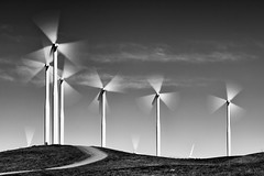 3 + 3 (Ron Rothbart) Tags: california montezumahills nd riovista bw blackandwhite monochrome neutraldensityfilter windfarm windturbines windmills