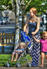 A Walk In The Park (swong95765) Tags: mother kids stroller tattoos park walk hdr cute tattoo