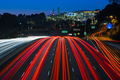 Universal City (clarsonx) Tags: losangeles california universalcity universalstudios barhamblvd lighttrail traffictrail hollywoodfreeway usroute101 expressway highway longexposure city cityscape landscape bluehour dusk twilight night skyline exit headlights taillights aerial cahuengapass