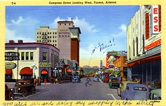 Congress Street Looking West Tucson AZ (Edge and corner wear) Tags: vintage postcard pc tucson az arizona downtown linen comments remarks x marks correspondence story stories main street martin drug company kress streetscape view window storefronts florsheim shoes jones rexall drugs valley national bank neon sign bakers fox theater theatre