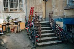 19/52 Backyard (toletoletole (www.levold.de/photosphere)) Tags: backyard hinterhof staircase treppe bicycles fahrräder ladder leiter flower blume door türe window fenster