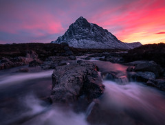 The Buachaille (chrismarr82) Tags: nikon scotland glencoe buachaille mountain sunset pink water river flow d750 lee
