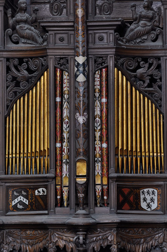Gloucester, Gloucestershire, cathedral, quire, organ case, east face, choir division, detail
