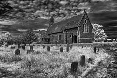 St.Mary's Church, Reculver, Kent (David Feuerhelm) Tags: nikkor blackandwhite building church contrast graveyard graves churchyard tombstones gravestones infared wideangle lowviewpoint sky clouds nikon silverefex d90 ir kent reculver england stmarys