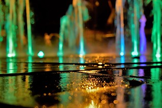 Night reflections - lighted fountain
