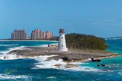 Lighthouse Bahamas (Kostas Trovas) Tags: lighthouse composition sailing water cruising nassau atlantisresort blue ocean pointofview photography island sky caribbean bahamas waves sea isolated