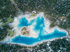 Caumasee (Marcel Cavelti) Tags: dji0048bearb2 caumasee flims waldhaus graubünden schweiz switzerland grisons lake cauma flight drone forest spring water snow swiss alps türkis green blue