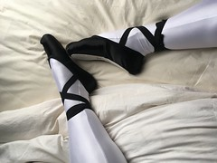 black ballet shoes and white spandex tights (mocca_freeze) Tags: ballet balletshoes balletslippers black tights lycra spandax