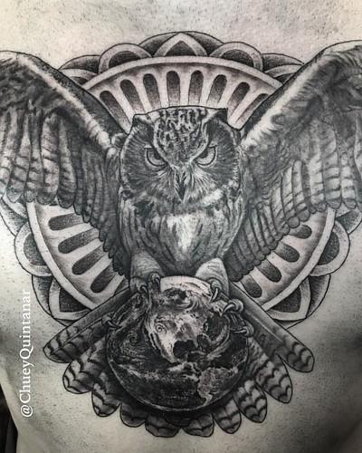 9dc647e12b52a Owl chest piece on the homie @nicksmithns #CHUVINCI #ChueyQuintanar .  @TACsciences @