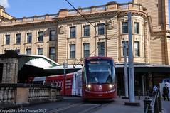 Sydney Light Rail - LRV2112 departs Central Railway bound  for Dulwich Hill. (john cowper) Tags: sydneylightrail centralrailwaystation urbos3 caf lrv2112 transportfornsw trams lightrailvehicle lightrail railwaystation heritage newsouthwales
