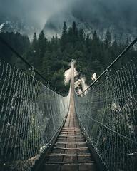 Thrill (noberson) Tags: thrill dizzy vertigo suspension bridge handegg handeck mood snow moody clouds lines switzerland alps swiss grimselpass grimsel grimselwelt gelmerbahn
