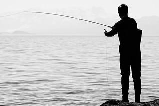 Fly fishing, siloette.