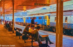 Waiting (M C Smith) Tags: trains blue platform waiting canopy columns benches carriage white