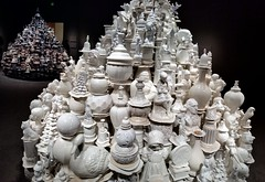 both porcelain stacks (JoelDeluxe) Tags: smithsonian sackler gallery waltermcconnell monumental porcelain sculptures ceramics vessels unsustainable luxury materialism conspicuous consumption white bronze pottery stacks washington dc mall museum joeldeluxe