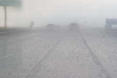 Tracks in the Rain (lifeofstawa) Tags: downpour driving fog fromtheroad hardrain mist published rain tracks visibility