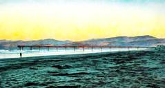 Walking Towards the Pier (Steve Taylor (Photography)) Tags: pier walking porthills art digital blue green teal yellow white black sand man newbrighton pacific ocean sea beach texture sunrise dawn autumn