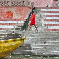 Walk like a Varanasian ~ India (~mimo~) Tags: canon square man boat river ganga ganges photography street documentary travel ghat varanasi asia india