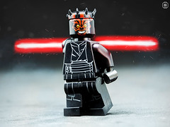 Darth Maul (jezbags) Tags: lego legos toys toy star starwars wars legostarwars minifigure minifigures macro macrophotography macrodreams macrolego darth maul darthmaul light lightsaber saber red black fire flares smoke grey closeup upclose