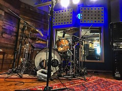 Where's the Drummer? (Pennan_Brae) Tags: drum drumming drummer recordingsession microphones microphone cymbals musicphotography recordingstudio instrument drumkit drumset musicstudio recording music percussion drums