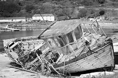 Boat wreck (rachelkirk) Tags: boat wreck ship blackandwhite decay abandoned old island rot nautical maritime northernireland
