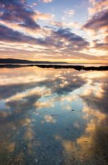 Hannafore Portrait Reflection (Julian Barker) Tags: hannafore looe cornwall kernow beach sea ocean reflections cloud formation water colour vibrance julian barker uk england shore canon