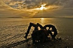 Auckland Sunrise (Ian@NZFlickr) Tags: auckland sunrise islands crepuscular rays clouds sea hauraki gulf nz old wreck