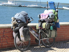Parked (cyclingshepherd) Tags: 2017 may europe europa portugal algarve olhao olhão rad fahrrad bike bicycle cycling biking touring tourist parked loaded teddybear panniers waterfront velo fiets vélo boats barcos thermometer sleepingbag bottle vtt atb mountainbike towel sparetyre tire pan barends bungee catamaran skull horns bicicleta bicicletta wrc parissaintgermain 1970 pro star starofdavid tourer straps camping camper stove trainers ziptie patch badge eiffeltower carabiner karabiner saddle dropframe openframe ladiesframe fishingrod teddy yacht adelinomanuellopes adelinomanuellopesferreira vag primus
