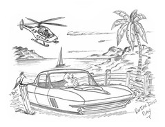 Butterfield Bay (rod1691) Tags: bw h2 hb alien car retro space sandiego ca pencil original fantasy funny automotive art