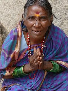 mendiante, Hampi, India