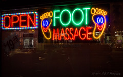 """""""Happy Feet Finds Relief"""" (SJS Photog) Tags: 1wkndwhit ca california event night owiw unitedstatesofamerica uptown whittier business comical feet foot fun funny glass happy massage neon nighttime oneweekendinwhittier photo photography photooftheday photos reflection sign store weekend window"""