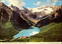 """Lake Louise, Banff National Park, Alberta, Canada. Postcard KS-4123, Pub. by Byron Harmon Photos, (ca. 1970s). Photo by Bruno Engler. (lhboudreau) Tags: postcard postcards colorphoto outdoor outdoors vintagepostcard building harmonphotos ks4123 1970s 1970 postcardks4123 lakelouise chateaulakelouise chateau canadianrockies rockies mountains mountain lake snow nationalpark canada banffnationalpark banff hotel trees pinetrees albertacanada rockymountains mountvictoria glacier lefroy whyte glaciers valley brunoengler fairmont fairmontchateaulakelouise aberdeen byronharmonphotos landscape"