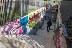 Stairs to Bloor (jer1961) Tags: toronto bloorstreet railpath westtorontorailpath stairs staircase graffiti torontoart