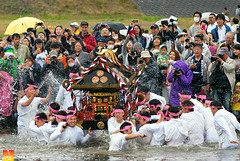 Mikoshi Climax (Nualchemist) Tags: mikoshi carryingshrine festival japan hamura tokyo travelphotography springfestival annualevent localevent spring seasonal energy water river ritual powerful splash cleansing shintofestival religion religious culture cultural tamariver rain crowd people japanese climax white pink cherryblossomfestival sacred photographers eventphotography journalistic weather