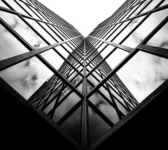Reflected Wings On A Steel Butterfly - London City Office Life 2017 Version (Simon & His Camera) Tags: reflection office city urban window glass london lookingup lines vertical symmetry architecture building composition diagonal geometric pattern simonandhiscamera tower abstract mirror sky skyline skyscraper cube metal vertigo bw blackandwhite monochrome