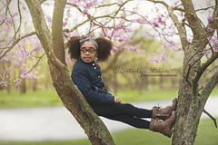WPS_9866_watermark (winterlynphotography82) Tags: girl model beautiful forest chicago hair glasses fashion serious cute warm spring portrait tree sitting boots sunlight illinois young black hispanic blooms flowers purple outdoors