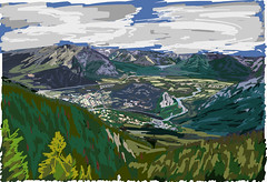 My Drawings - Banff National Park Sulphur Mountain View (thor_mark ) Tags: lookingne day2 triptoalbertaandbritishcolumbia banffnationalpark tunnelmountain mountrundle cascademountain bowriver river rockymountains canadianrockies centralfrontranges vermilionrange banff stoneysquawmountain sawbackslateranges sawbackrange southerncontinentalranges southbanffranges rundlepeaks sulphurmountain mountgirouard eastbanffranges fairholmerange lakeminnewanka lake blueskieswithclouds trees evergreen outside nature landscape rollinghillsides mountains mountainsindistance mountainsoffindistance hillsides hillsideoftrees evergreens bowvalley sansonpeak citystreets street atopsulphurmountain mountainside ipaddrawing digitalpainting adobedraw adobeillustratordraw ipad artdigital alberta canada