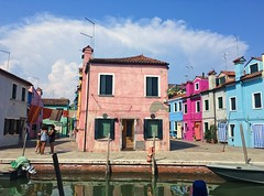 Pink & Center (Carolyne Sysmans) Tags: burano pink home lifestyle clouds water reflection model people italy venice eruope european culture architecture art homes house door